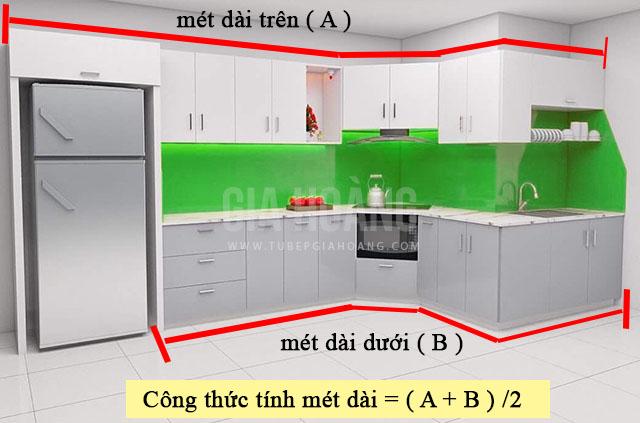 Cách tính giá tủ bếp mét dài